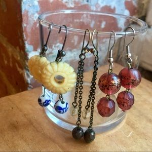 Jewelry - SALE! Vintage Boho beaded pierced earring bundle